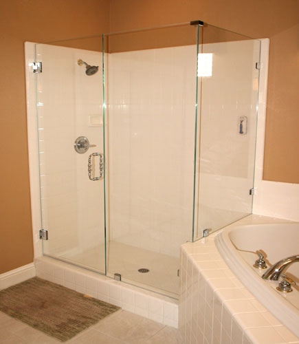 frameless shower enclosure with clips